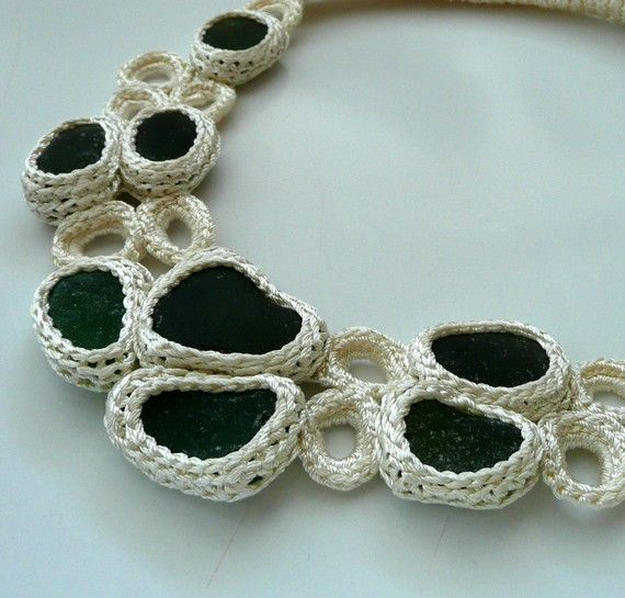 White necklace with 9 sea glasses crocheted by astash $78
