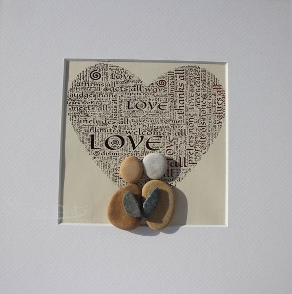 Pepple art picture with 25x25 cm white wooden frame.  Theme: love    Personalized pebble art gifts, unique gifts for couples and families, memorable