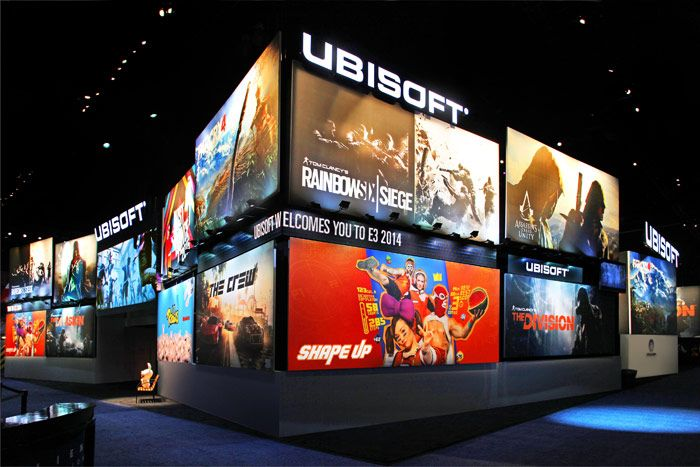 The brand tapped Ethos Design to create a Times Square-inspired entrance at the Ubisoft booth at this year's Electronic Entertainment Expo, where attendees could test out new 2014 and 2015 titles.   Photo: Nadine Froger Photography