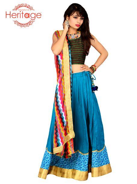 Look like an angel in #blue rayon #ChaniyaCholi with multicolored dupatta!