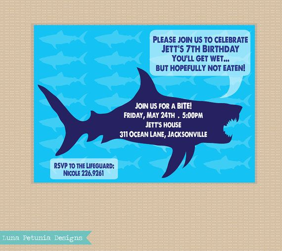 270 best shark party images on pinterest | birthday party ideas, Party invitations