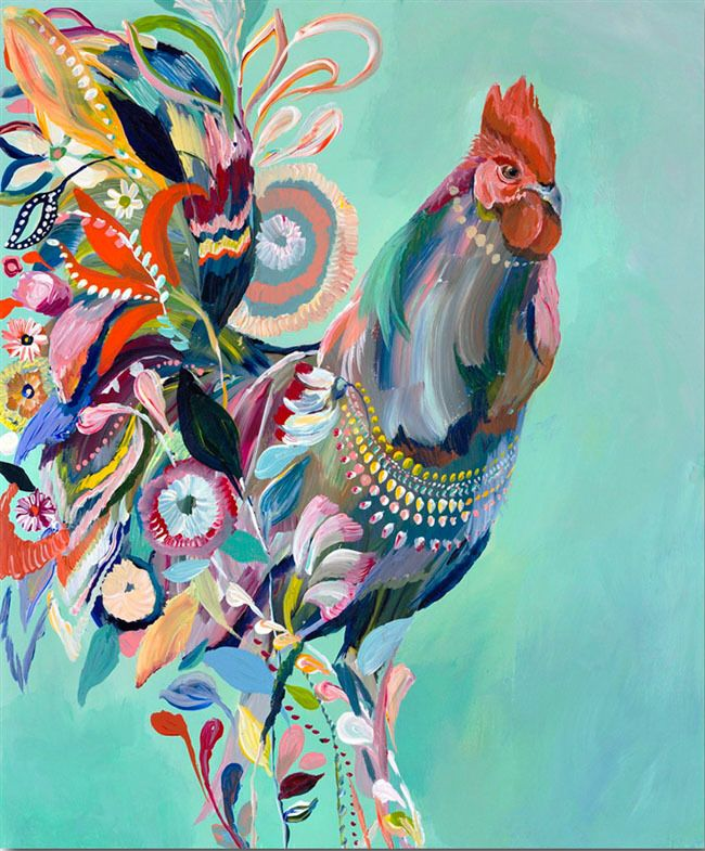 ROOSTER, by Starla Halfmann YEAR OF THE ROOSTER 2017 Beautiful Limited Edition Prints Available On Archival Paper or Gallery Wrapped Canvas. Shop Our Website: ElephantSquare.com