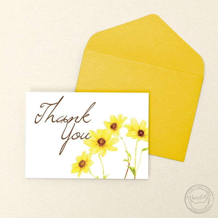 bridal shower thank you cards etiquette%0A Send some charm with these yellow daisy thank you cards    Wedding  Invitations by CharmCat