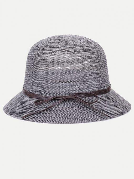 Vinfemass Bowknot Band Straw Bucket Hat  5b94211d5494