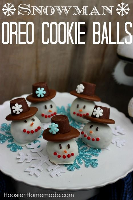Snowman OREO Cookie Balls - just 2 ingredients plus a few candies for the hats and face. Fun to make! Fun to eat! Pin to your Recipe Board!