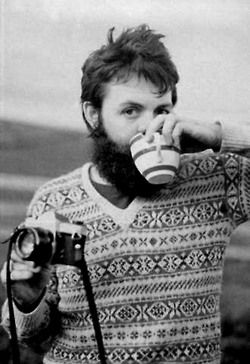 <3...love a man with a good sweater, who loves to take photos and is sipping coffee( or tea)   ;)  paul mccartney