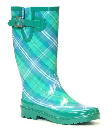 Look what I found on #zulily! Green & Blue Spring Plaid Rain Boot by Chooka & Western Chief #zulilyfinds