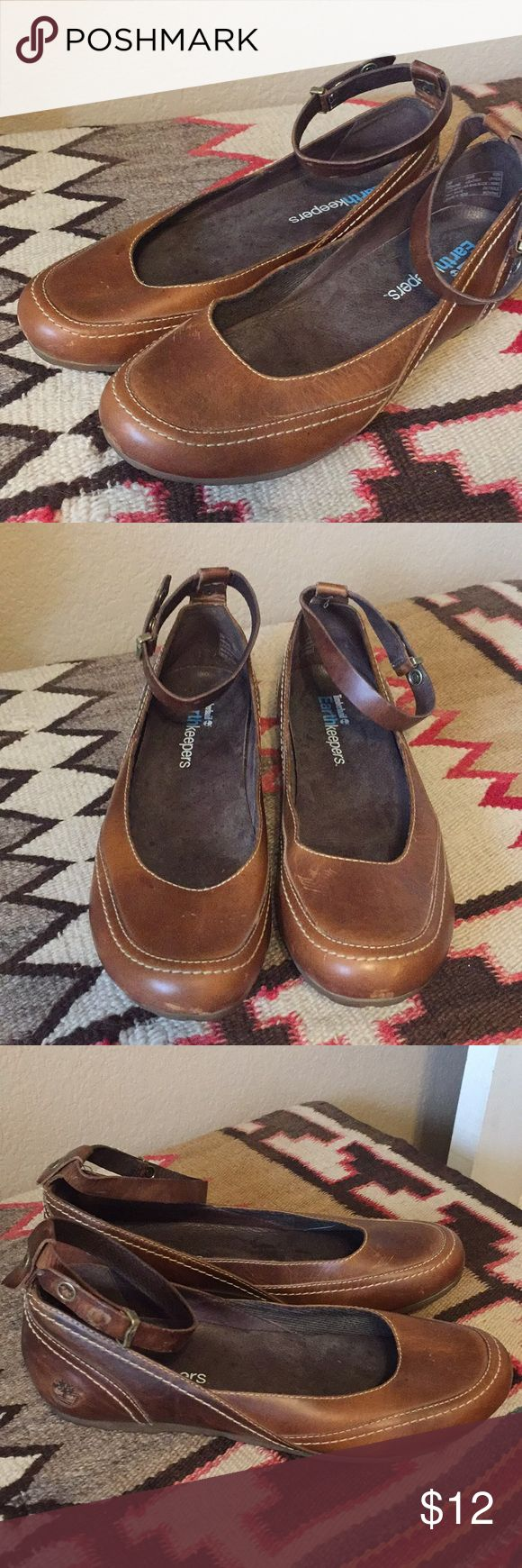 Timberland EarthKeepers Flats / Shoes Sz 9 Brown flats with an ankle strap in size 9 by Timberland EarthKeepers.  These are very comfy shoes, have scuffs on them.  Lots of life left to them. Timberland Shoes Flats & Loafers