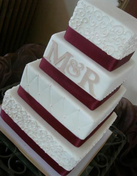 Monogram White and Red Square Wedding Cake