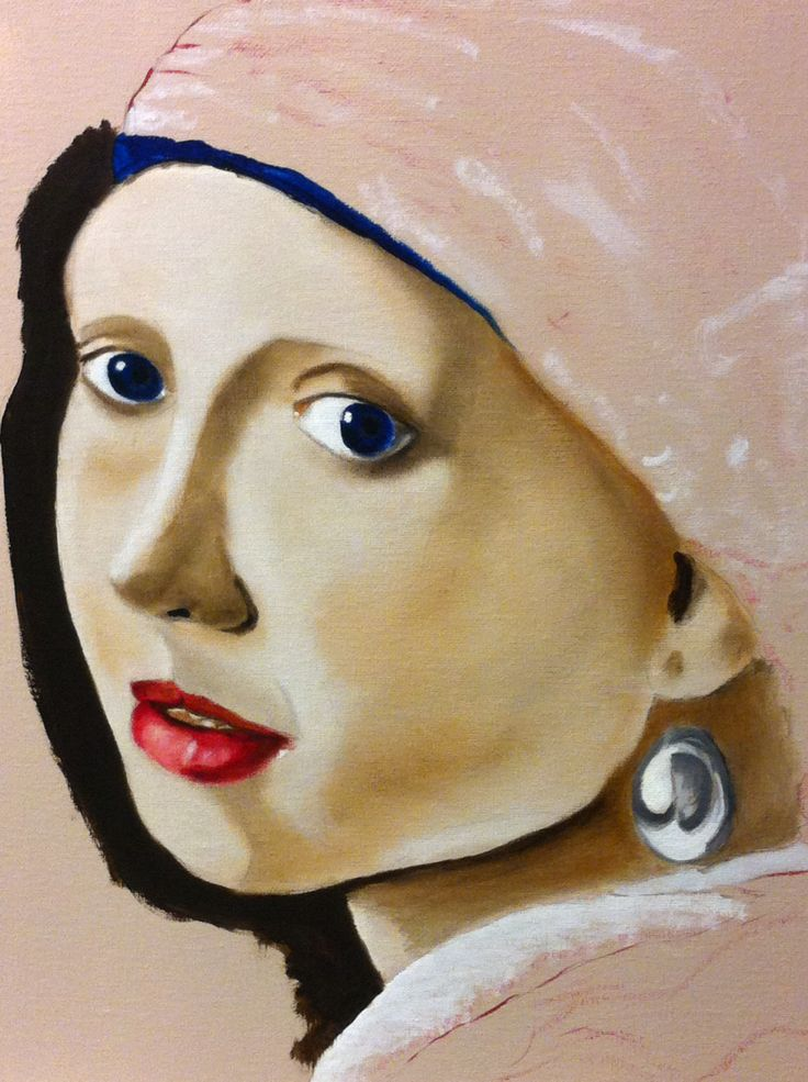 With The Pearl Earring 30 X 40 Cm Oil On Canvas