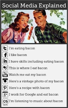 Social Media explained, with a little bit of help from a rasher of bacon.: Socialmedia Explained, Social Media Explained, Medium Explained, Social Humor, Funny Honey, Vines Follow, Social Medium, General Humor, Infographics Socialmedia