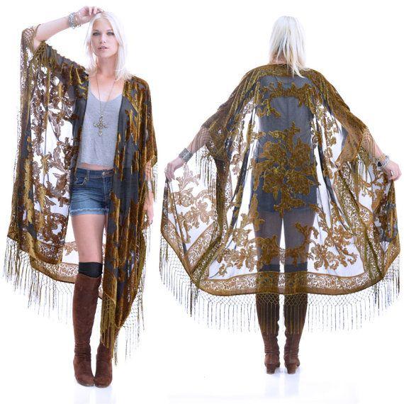 Sheer Silk Burnout Velvet Fringe Hippie Boho by SaldanaVintage