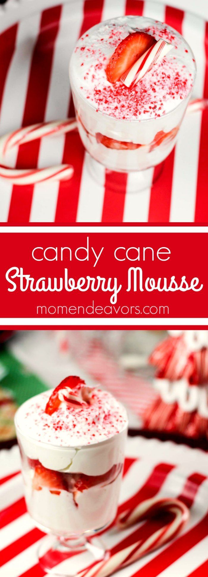 Candy Cane Strawberry Mousse - a light & tasty holiday dessert!