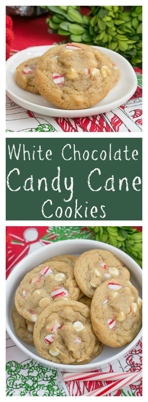White Chocolate Candy Cane Cookies | A chewy, buttery cookie filled with white chocolate chips and crushed candy canes thatskinnychickcanbake @lizzydo (White Chocolate Cupcakes)