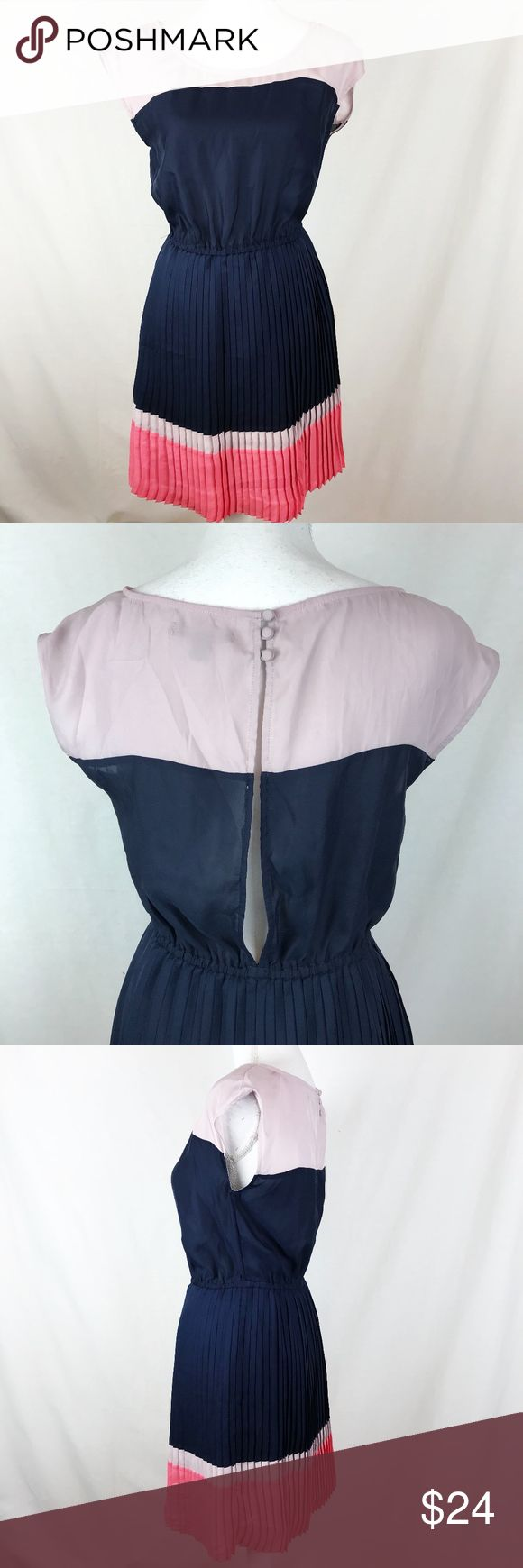 "American Eagle Outfitters Blue Pink Pleated Dress American Eagle Outfitters dress in a blend of blue, rose and pink. Pleated skirt with elastic waist. Fully lined. Materials Shell and lining 100% Polyester.   Size S  Measurements (laid flat) Armpit to armpit 17"" Waist 13.5"" expandable Length 33""  Condition Excellent condition preowned. Normal wear. No flaws noted. American Eagle Outfitters Dresses"