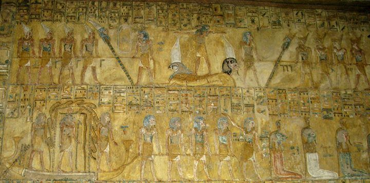 """Scenes from the ninth division of the sacred """"Book of Gates""""; from the """"House of Eternity"""" of Queen Tausert and King Sethnakht, KV 14, Valley of the Kings, West Uaset, Thebes. -In the upper register, on the left and on the right, are represented four Gods raising up from the ground, by means of a rope and aided by a standing God, a pole/staff surmounted by a human head (the one at left is crowned with the Hedjet, the White Crown, and the one at right with the Deshret, the Red Crown): the…"""
