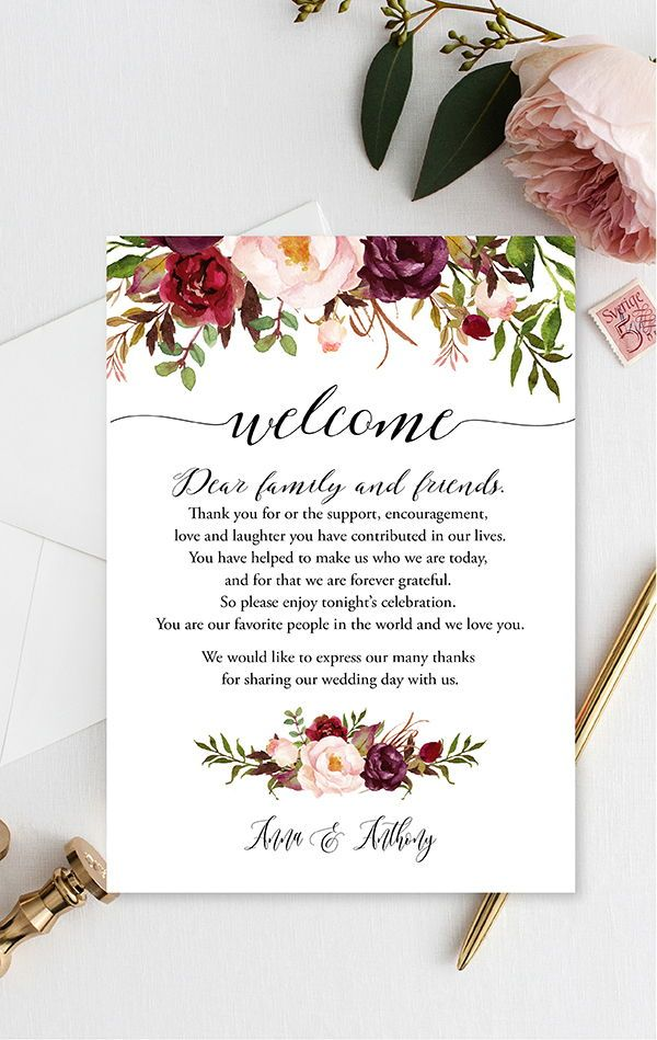 Burgundy Floral Wedding Itinerary Wood Itinerary Template Etsy Wedding Welcome Table Fall Wedding Bouquets Wedding Brunch Invitations