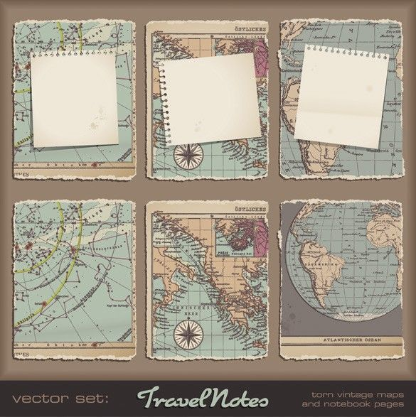 XOO Plate :: Old World Maps Note Paper Vector Elements - 4 Torn Old World maps with ripped note paper - vector UI elements.