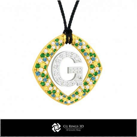 3D CAD Pendant With Letter G