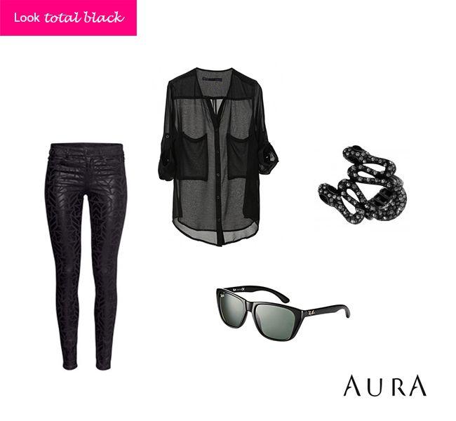 Com #preto fica difícil errar... Para arrematar, #anel de #cobra, calça de #couro e óculos! Miauuu! (Cod. do anel:  5672) #bijuterias #bijoux #moda
