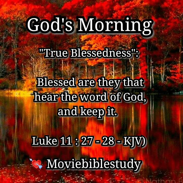 """God's Morning  """"True Blessedness"""":  27 And it came to pass, as he spake these things, a certain woman of the company lifted up her voice, and said unto him, Blessed is the womb that bare thee, and the paps which thou hast sucked.  28 But he said, Yea rather, blessed are they that hear the word of God, and keep it.  (Luke 11 : 27 - 28 - KJV) #God1st #JesusChrist #HolySpirit #HeavensHoliness #GodsWord"""