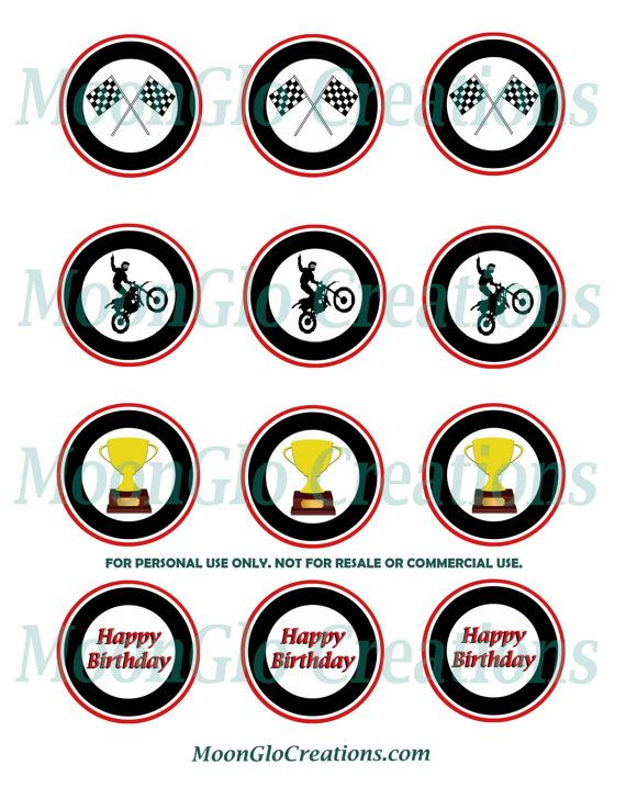 Motocross Theme Cupcake Toppers Birthday Party