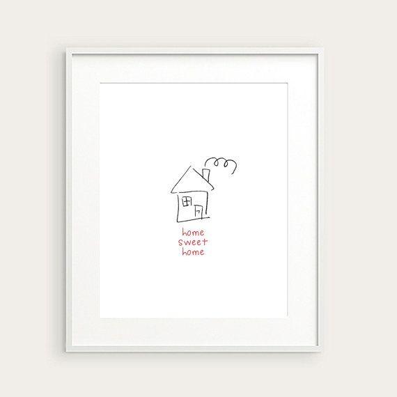 Home Sweet Home Art Print  Cute Doodle Art  by happyprintsshop, $14.00