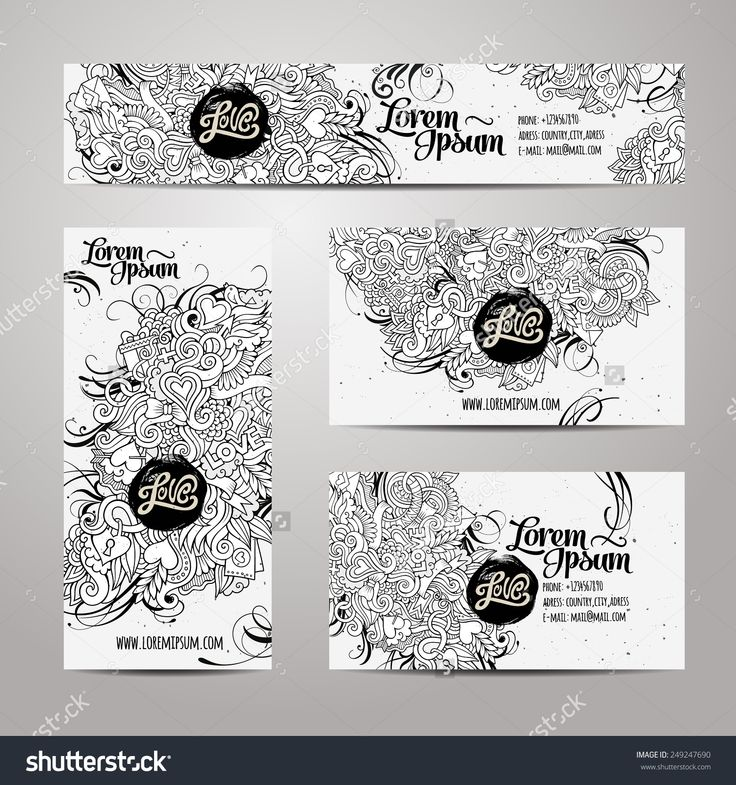 Corporate Identity vector templates set with doodles love theme