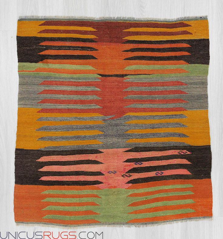 """Vintage small kilim rug from Afyon region of Turkey.In good condition.Approximately 45-55 years old Width: 3' 2"""" - Length: 3' 5""""  Colorful Kilims"""