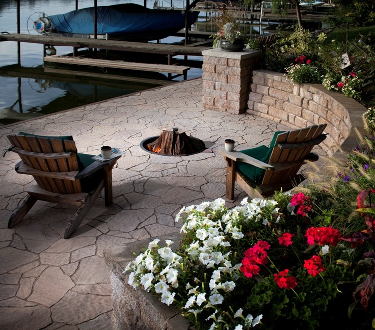 Sometimes all you need is a stone fire pit, two Adirondack chairs and a  lake view. For a completely natural look, nothing beats stone. - 15 Best Outdoor Fire Pits In San Diego & Orange County, Ca Images On