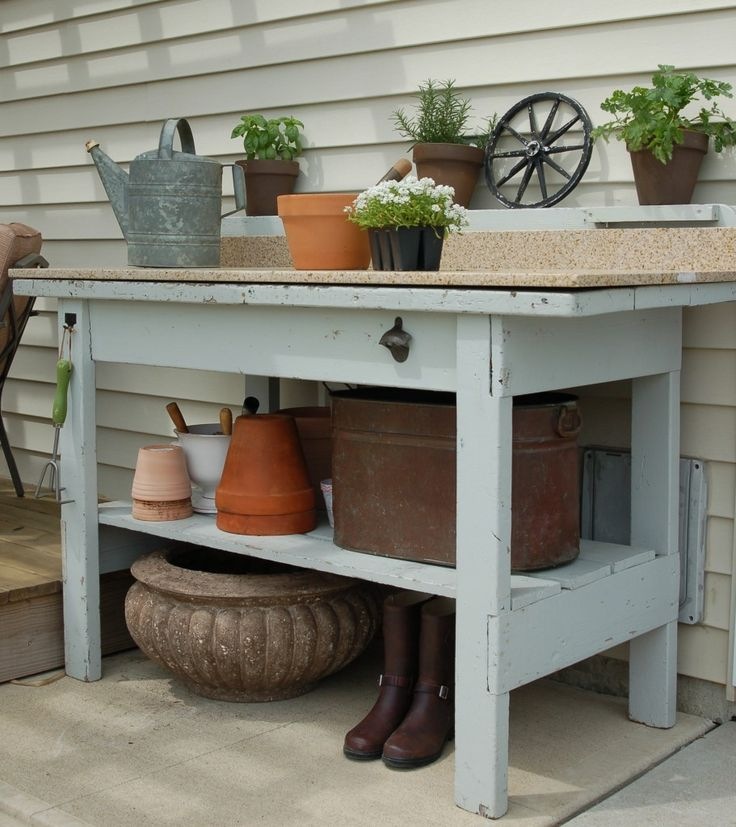 229 best potting bench images on pinterest garden deco for Garden potting bench ideas