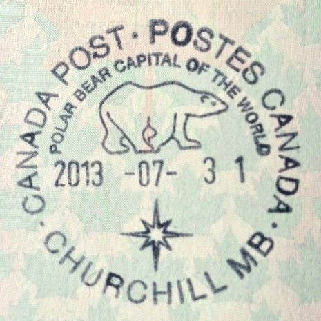 Passport stamp from Churchill, Manitoba, Canada