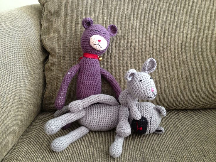 Two Amineko cats and and a mouse I made for our grandchildren.