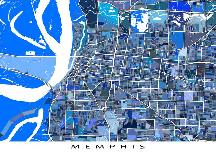 Had a great trip to Memphis Tennessee? Planning a trip? Or just lucky enough to live there? Then this #Memphis #map print is for you!  This city map has a modern, abstract art design made from of lots of little blue shapes. Each shape is actually a city block or a piece of land - and these shapes combine like a puzzle or mosaic to form this Memphis print. #Tennessee #city