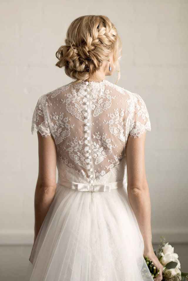 Braided updo | Katie Jane Photography | see more on: http://burnettsboards.com/2014/11/brunch-wedding-mimosa-bar-crepe-cake/