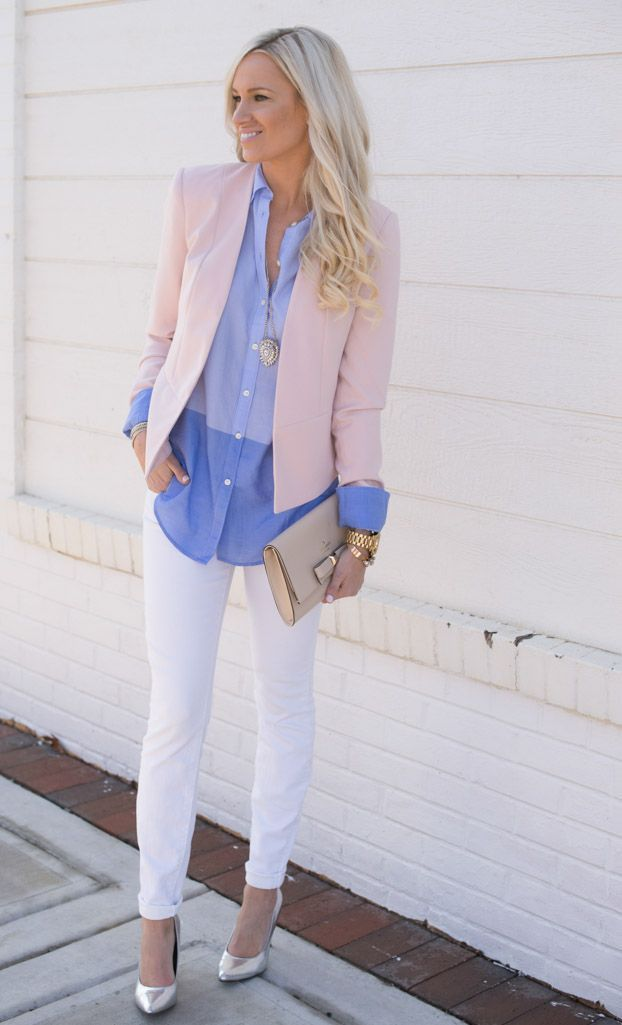 Try an airy colors like pink and light blue for your next office outfit.   Office Style