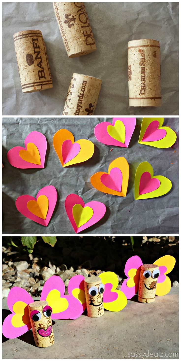 Wine Cork Butterfly Craft For Kids #Heart butterfly #Valentines Love bugs #DIY #Spring | CraftyMorning.com