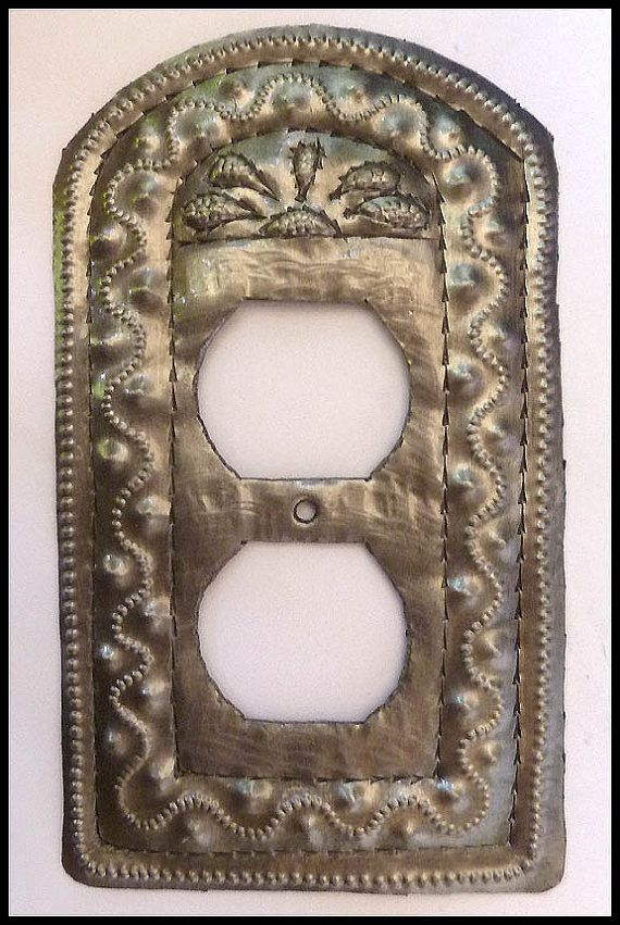 Metal Outlet Plate - Metal Outlet Cover - Wall Plug Cover - Wall Outlet Cover -  Haitian Steel Drum Art - Electrical Outlet Plates -  HP-106