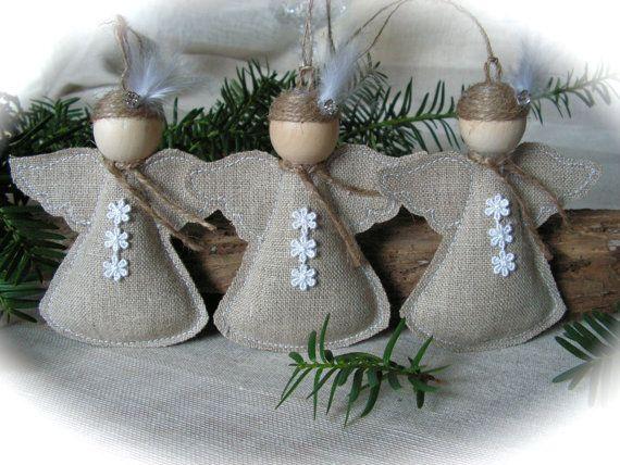 Christmas Ornament rustic angel  set of 3 van Mydaisy2000 op Etsy