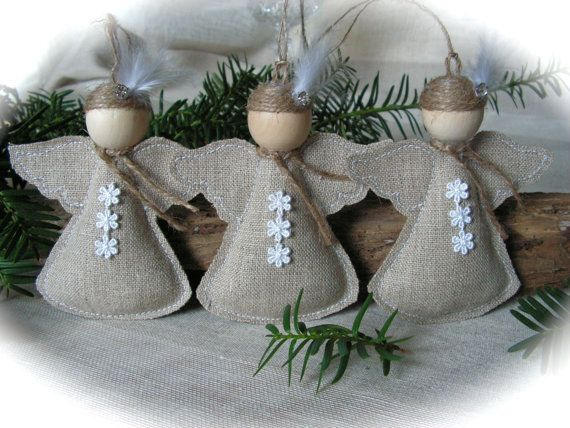 Christmas Ornament rustic angel set of 3 van Mydaisy2000 op Etsy