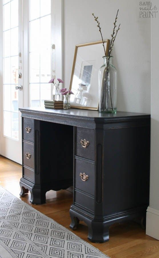 Attractive Vintage Desk Before And After Makeover With General Finishes Milk Paint In  A Custom Mix Of Lamp Black And Queenstown Gray And Restored Original  Hardware.