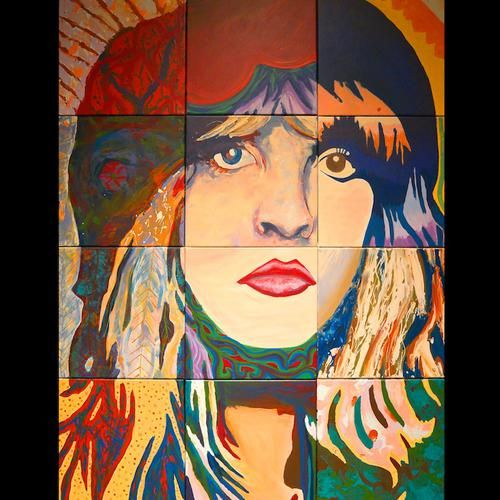 "Original Medium: Acrylic on canvas  Titled: Stevie Nicks Size: 11"" x 14"" Edition size: 200 Printed with archival inks on Heavy matte paper  This piece was painted in collaboration between artist Randsom Keith and guests at the Local Circle Artist Services studios. The original painting consists of 12 - 12"" x 12"" panels painted at different times by different people, none of which were aware of the final image until it was pieced together"