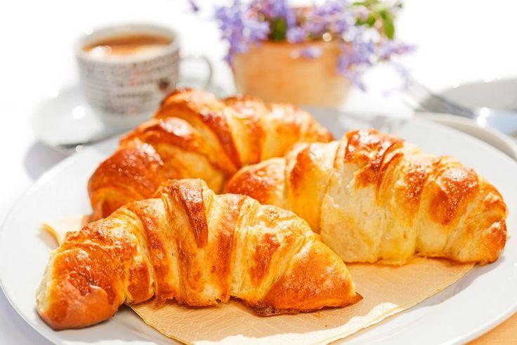 Freshly-baked sourdough croissants