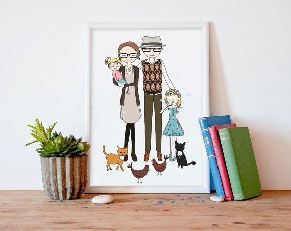 Custom Portrait Family portrait customized di PrintableWallStory