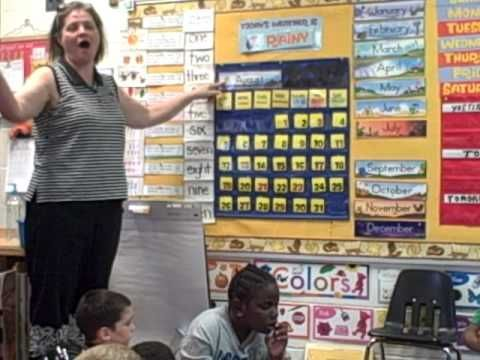 This video is great example of calendar time in a kindergarten class. The works with the students on days of the weeks, months of the year. Counting is greatly used during calendar time where the students will learn to count the number of days in school, also celebrating 100th day of the school.