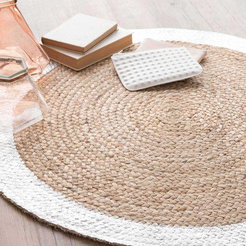 Rond tapijt in natuurkleur/zilver jute D 90 cm VERTIGE