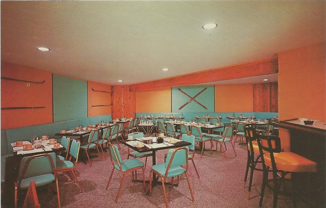 Frankfort Thompsonville MI INTERIOR CRYSTAL MOUNTAIN Ski & Golf Resort Lodge early Crystal Mountain Ski Resort Dining Room Originally began as Local Ski Hill called Bucks Run