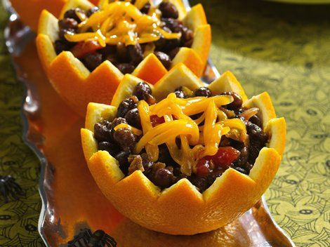 Black Beans in Boo Bowls - Spooky fun! Using oranges as bowls, this tasty dish is a fiber-full fright at Halloween time.: Idea, Black Beans, Recipe, Food, Fun Halloween, Oranges, Black Bean Salsa, Boo Bowls