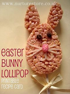Easter Bunny Lollipop!: Kids Easter, Easter Recipes, Bunnies Lollipops, Easter Bunnies, Easter Bunny, Easter Treats, Printable Recipes Cards, Bunnies Treats, Easy Kids