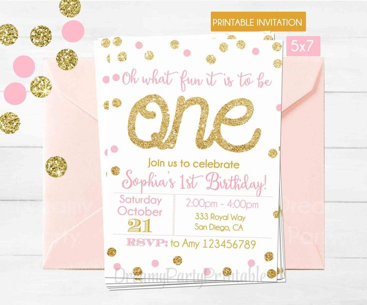 Best 25 Pink and gold invitations ideas – Pink First Birthday Invitations